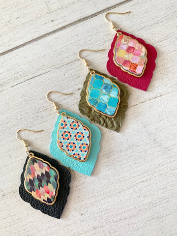 Bella Bijoux Earrings - Genuine Leather Earrings with Painted Wood Moroccan Design