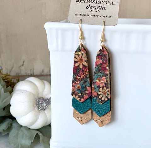 Triple Layered Jewel Tone Floral Cork and Leather Earrings