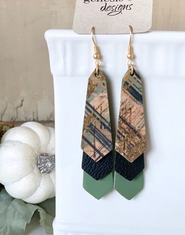 Triple Layered Perfect Plaid Cork and Leather Earrings