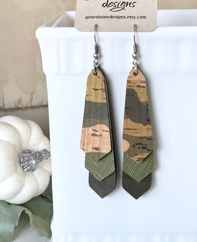 Triple Layered Army Green Camo Cork and Leather Earrings