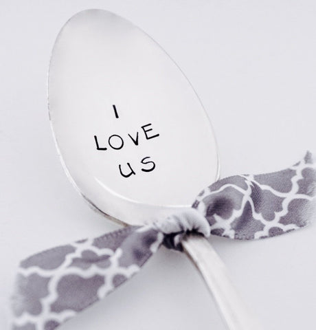 I LOVE US - Vintage Hand Stamped Spoon