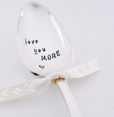 Love You More Heart - Vintage Hand Stamped Spoon