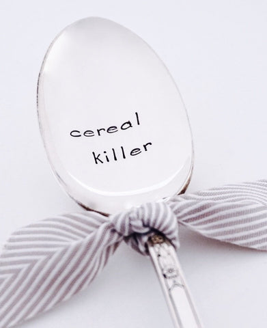 Cereal Killer - Vintage Silver Plated Hand Stamped Spoon
