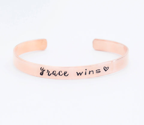 Grace Wins Heart Mantra Cuff Bracelet