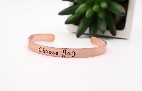 Choose Joy - Hand Stamped Mantra Cuff Bracelet