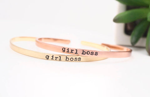Girl Boss - Hand Stamped Mantra Cuff Bracelet