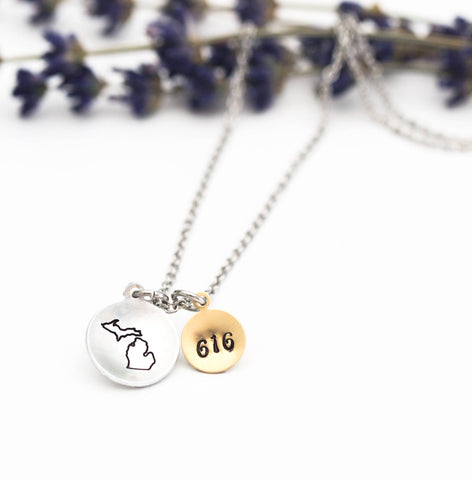 Hand Stamped State of Michigan Necklace with Area Code or Heart Disc