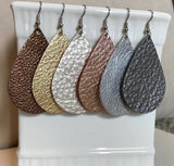 Leather Earrings - Genuine Leather - Metallic Collection