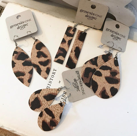 Leather Earrings - Genuine Leather - Leopard
