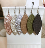 Leather Earrings - Embossed Collection