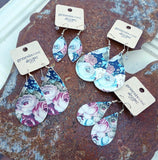 Leather Earrings - Floral Collection - Vintage Rose