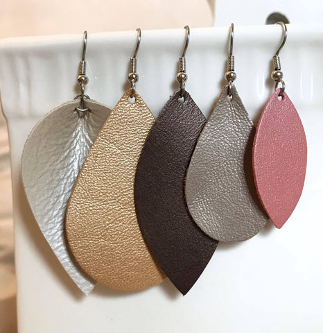 Leather Earrings - Metallic Collection