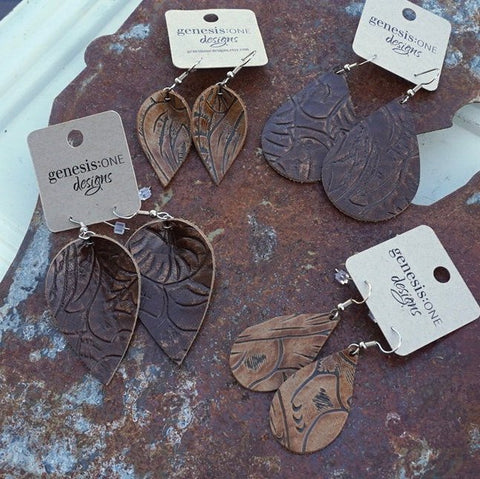 Leather Earrings - Brown Tooled Collection - Brownie OR Whiskey