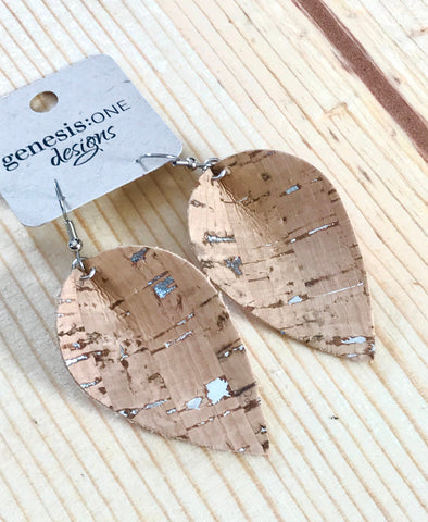 Cork Earrings - Natural with Silver Flecks - Metal Fleck Collection