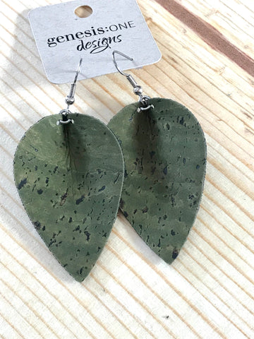 Cork Earrings - Army Green