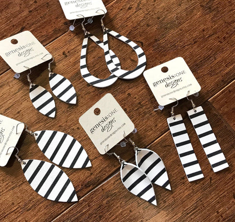 Leather Earrings - Black/White Striped