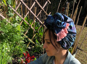 Cotton Tie Dyed Scarf in Blue with Pink Tassels - מטפחות - כיסוי ראש - Aviva Lush tichels, head scarves, volumizers