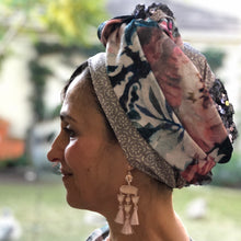 Load image into Gallery viewer, Triple Fabric , Taupe, Floral and Sequin Scarf - מטפחות - כיסוי ראש - Aviva Lush tichels, head scarves, volumizers