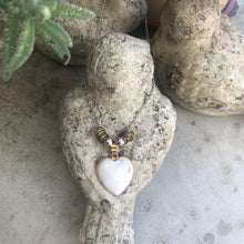 Load image into Gallery viewer, Heart Necklace on Silver Coloured Chain - מטפחות - כיסוי ראש - Aviva Lush tichels, head scarves, volumizers