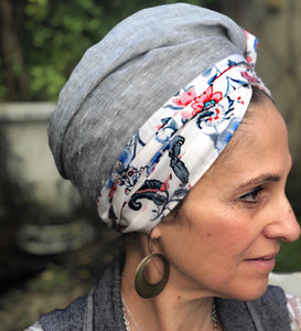 Twin Fabric, Gray and Red Floral Scarf - מטפחות - כיסוי ראש - Aviva Lush tichels, head scarves, volumizers