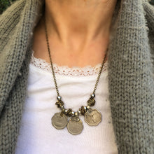 Load image into Gallery viewer, Rupee Necklace on Gun Metal Coloured Chain - מטפחות - כיסוי ראש - Aviva Lush tichels, head scarves, volumizers
