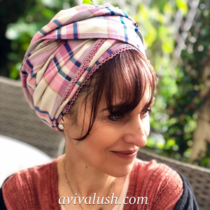 Pure Wool Pink, White and Blue Checked Scarf - מטפחות - כיסוי ראש - Aviva Lush tichels, head scarves, volumizers
