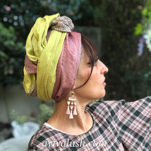 Triple Fabric Pink, Green, Taupe Scarf - מטפחות - כיסוי ראש - Aviva Lush tichels, head scarves, volumizers