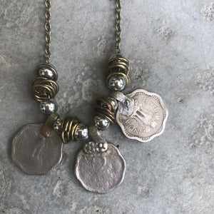 Rupee Necklace on Gun Metal Coloured Chain - מטפחות - כיסוי ראש - Aviva Lush tichels, head scarves, volumizers
