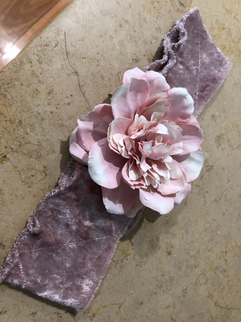Large Pink Flower Headband - מטפחות - כיסוי ראש - Aviva Lush tichels, head scarves, volumizers