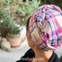 Load image into Gallery viewer, Pure Wool Pink, White and Blue Checked Scarf - מטפחות - כיסוי ראש - Aviva Lush tichels, head scarves, volumizers
