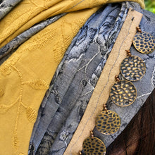Load image into Gallery viewer, Embroidered Mustard and Dark Silver Scarf - מטפחות - כיסוי ראש - Aviva Lush tichels, head scarves, volumizers