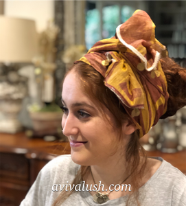 Pink And Gold Ruched Half Scarf With Gold Coin Trim - מטפחות - כיסוי ראש - Aviva Lush tichels, head scarves, volumizers