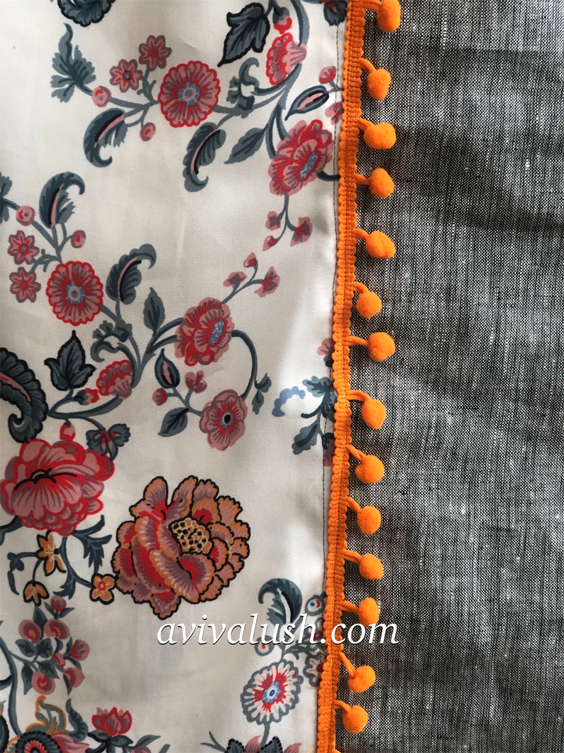 Twin Fabric, Gray and Red Floral Scarf (Variation) - מטפחות - כיסוי ראש - Aviva Lush tichels, head scarves, volumizers