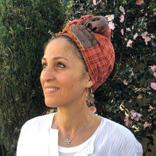 Load image into Gallery viewer, Twin Fabric Copper Checked And Floral Brown Scarf - מטפחות - כיסוי ראש - Aviva Lush tichels, head scarves, volumizers