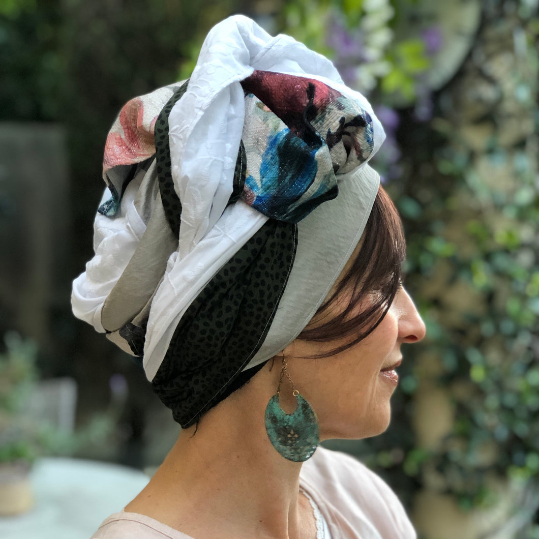 Four Fabric Floral and Leopard Print Scarf - מטפחות - כיסוי ראש - Aviva Lush tichels, head scarves, volumizers