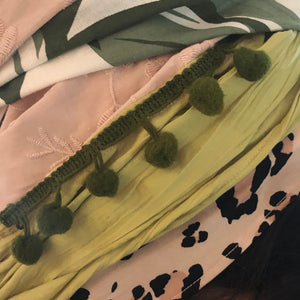 Four Fabric Pink And Green Scarf - מטפחות - כיסוי ראש - Aviva Lush tichels, head scarves, volumizers