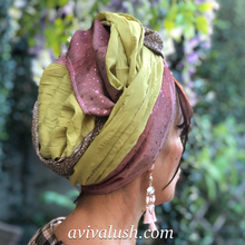 Load image into Gallery viewer, Triple Fabric Pink, Green, Taupe Scarf - מטפחות - כיסוי ראש - Aviva Lush tichels, head scarves, volumizers