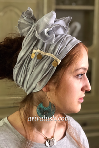 Soft Silver Half Scarf With Gold Coin Trim - מטפחות - כיסוי ראש - Aviva Lush tichels, head scarves, volumizers