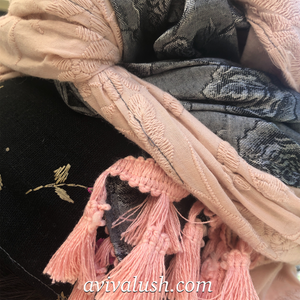 Triple Fabric Pink, Dark Silver, Black Embroidered Scarf - מטפחות - כיסוי ראש - Aviva Lush tichels, head scarves, volumizers