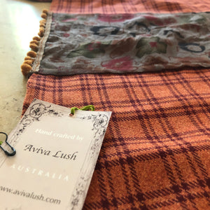 Twin Fabric Copper Checked And Floral Brown Scarf - מטפחות - כיסוי ראש - Aviva Lush tichels, head scarves, volumizers