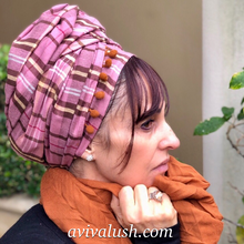 Load image into Gallery viewer, Pure Wool Pink and Brown Checked Scarf - מטפחות - כיסוי ראש - Aviva Lush tichels, head scarves, volumizers