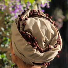 Load image into Gallery viewer, Cotton Voile Scarf in Sage with Aubergine Trim - מטפחות - כיסוי ראש - Aviva Lush tichels, head scarves, volumizers