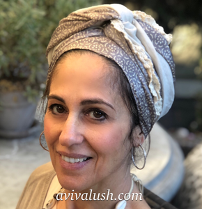 Twin Fabric Taupe and Stone Scarf - מטפחות - כיסוי ראש - Aviva Lush tichels, head scarves, volumizers
