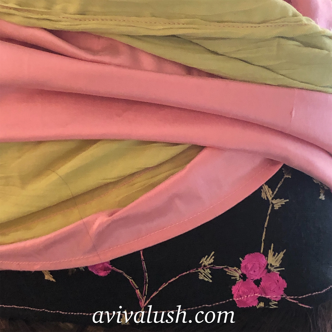 Triple Fabric Pink, Green, Black Embroidered Scarf - מטפחות - כיסוי ראש - Aviva Lush tichels, head scarves, volumizers