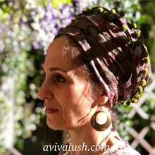 Load image into Gallery viewer, Dark Taupe Floral Scarf With Green Pom Pom Trim - מטפחות - כיסוי ראש - Aviva Lush tichels, head scarves, volumizers