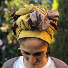 Load image into Gallery viewer, Embroidered Mustard and Lilac Flowers Scarf - מטפחות - כיסוי ראש - Aviva Lush tichels, head scarves, volumizers