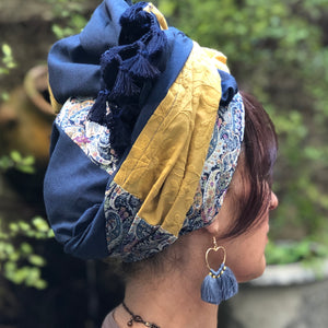 Triple Fabric, Blue Paisley Tassel Scarf - מטפחות - כיסוי ראש - Aviva Lush tichels, head scarves, volumizers