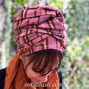 Pure Wool Pink and Brown Checked Scarf - מטפחות - כיסוי ראש - Aviva Lush tichels, head scarves, volumizers