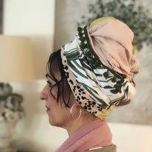 Load image into Gallery viewer, Four Fabric Pink And Green Scarf - מטפחות - כיסוי ראש - Aviva Lush tichels, head scarves, volumizers