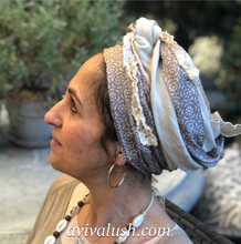 Load image into Gallery viewer, Twin Fabric Taupe and Stone Scarf - מטפחות - כיסוי ראש - Aviva Lush tichels, head scarves, volumizers